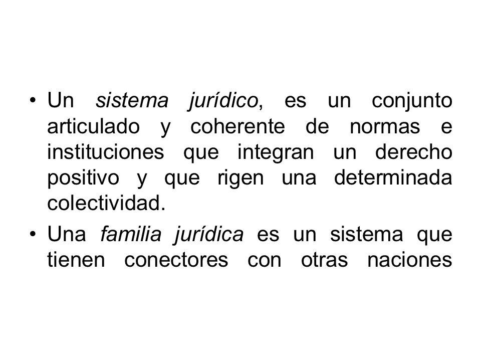Un sistema jurídico, es un conjunto articulado y coherente de normas e instituciones que integran un derecho positivo y que rigen una determinada colectividad.