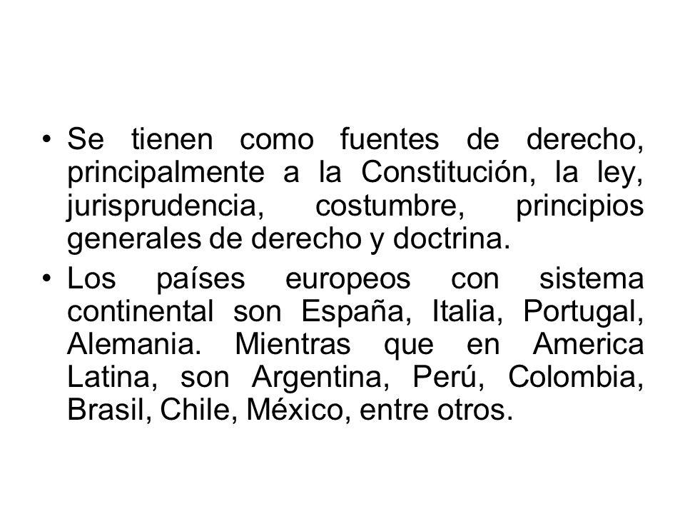 Se tienen como fuentes de derecho, principalmente a la Constitución, la ley, jurisprudencia, costumbre, principios generales de derecho y doctrina.