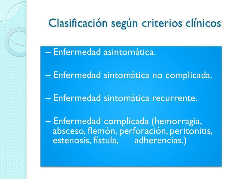 Clasificación según criterios clínicos