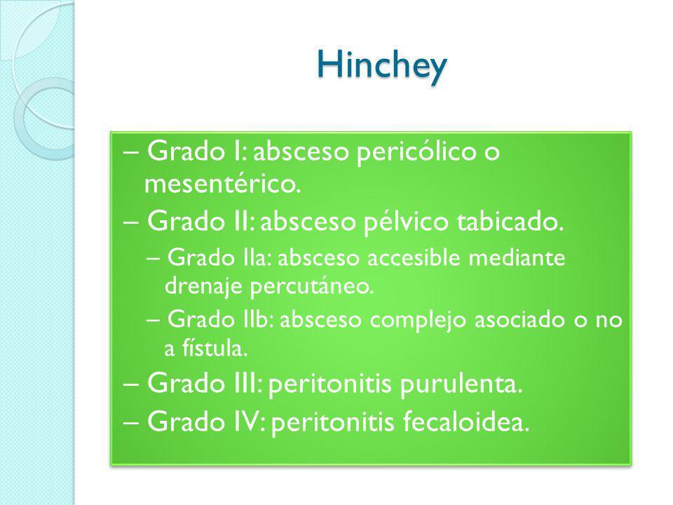 Hinchey – Grado I: absceso pericólico o mesentérico.
