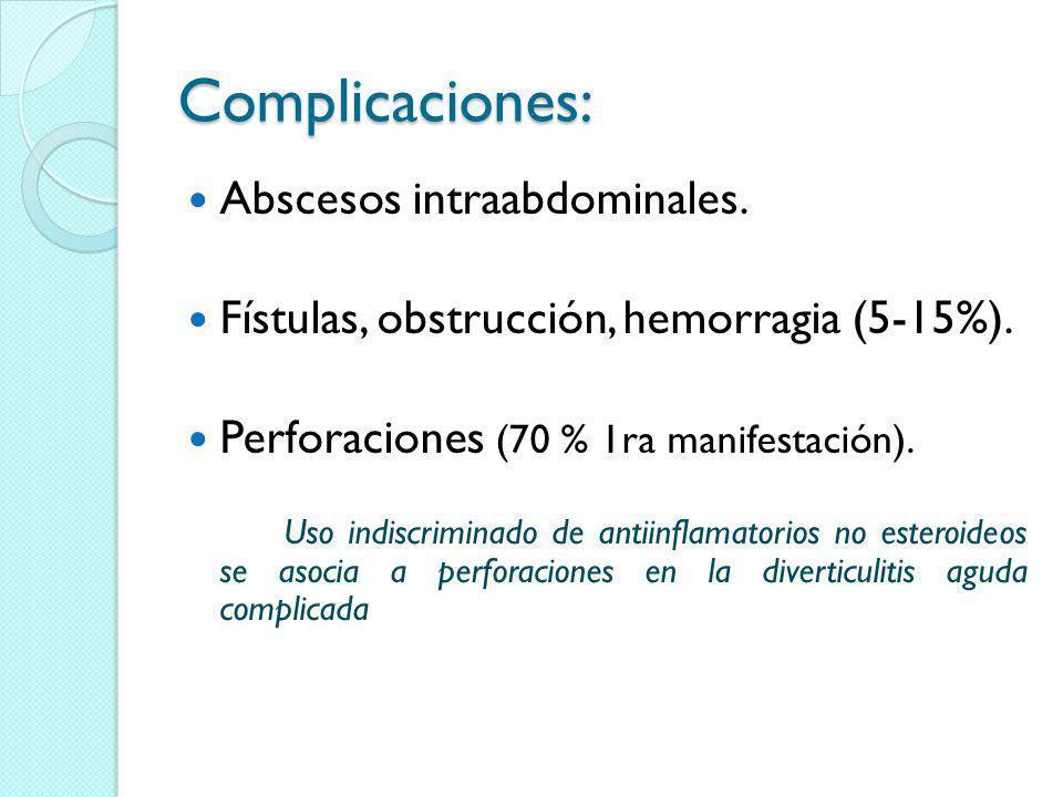 Complicaciones: Abscesos intraabdominales.