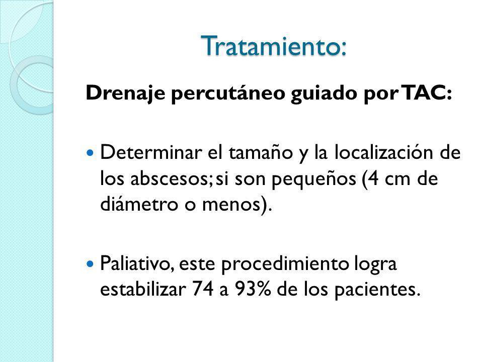 Tratamiento: Drenaje percutáneo guiado por TAC:
