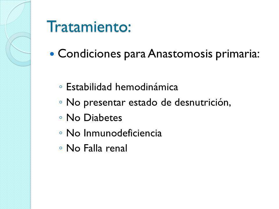 Tratamiento: Condiciones para Anastomosis primaria: