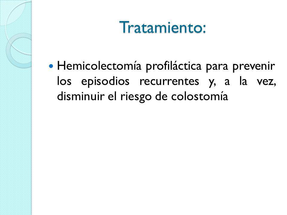 Tratamiento: Hemicolectomía profiláctica para prevenir los episodios recurrentes y, a la vez, disminuir el riesgo de colostomía.