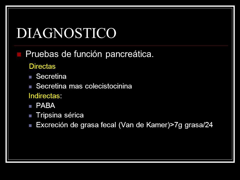 DIAGNOSTICO Pruebas de función pancreática. Directas Secretina