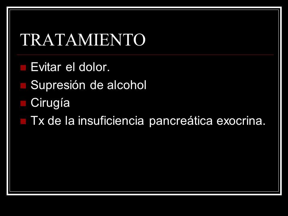 TRATAMIENTO Evitar el dolor. Supresión de alcohol Cirugía