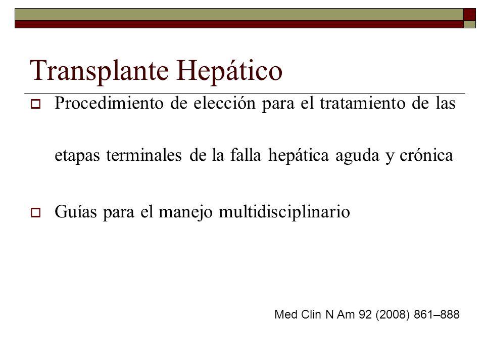 Transplante HepáticoProcedimiento de elección para el tratamiento de las etapas terminales de la falla hepática aguda y crónica.