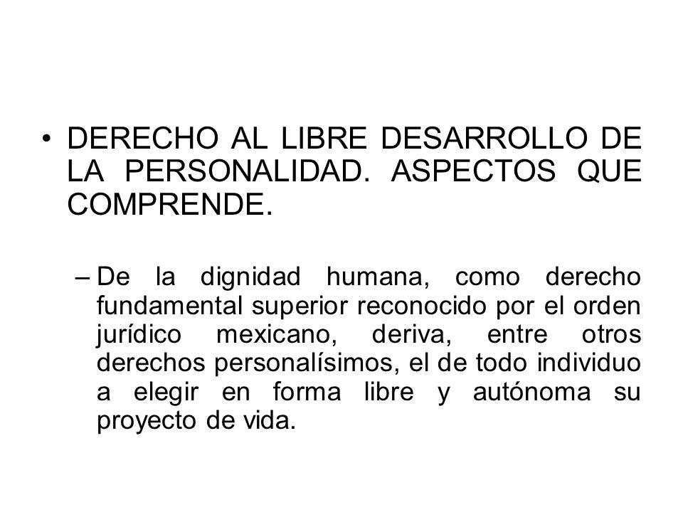 DERECHO AL LIBRE DESARROLLO DE LA PERSONALIDAD. ASPECTOS QUE COMPRENDE.