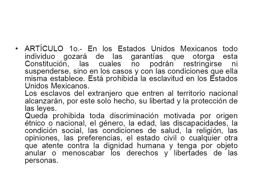 ARTÍCULO 1o.- En los Estados Unidos Mexicanos todo individuo gozará de las garantías que otorga esta Constitución, las cuales no podrán restringirse ni suspenderse, sino en los casos y con las condiciones que ella misma establece. Está prohibida la esclavitud en los Estados Unidos Mexicanos.