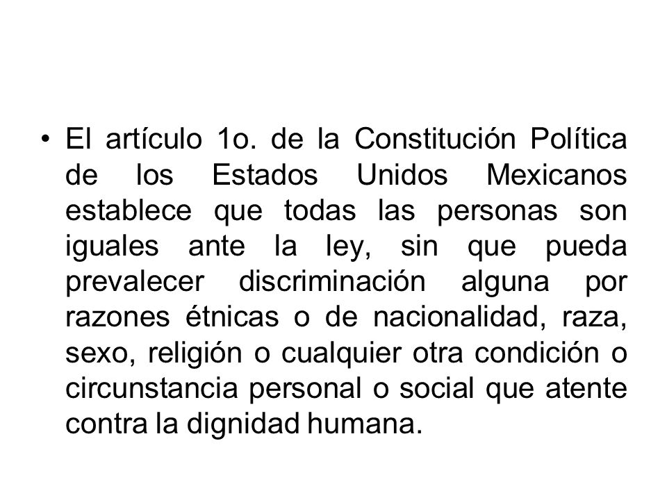 El artículo 1o.