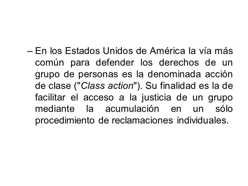En los Estados Unidos de América la vía más común para defender los derechos de un grupo de personas es la denominada acción de clase ( Class action ).