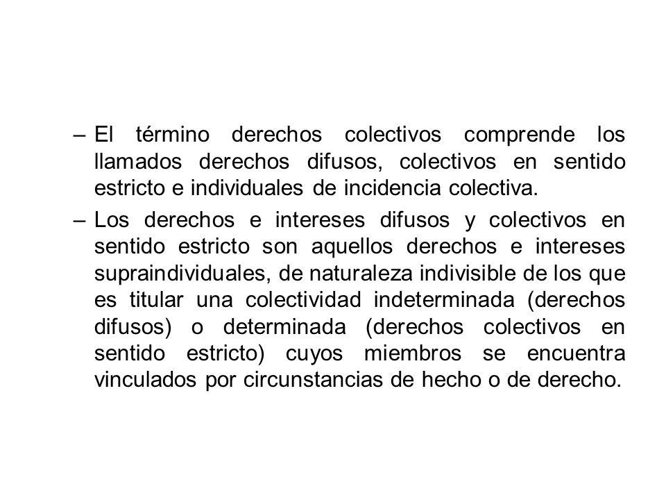 El término derechos colectivos comprende los llamados derechos difusos, colectivos en sentido estricto e individuales de incidencia colectiva.