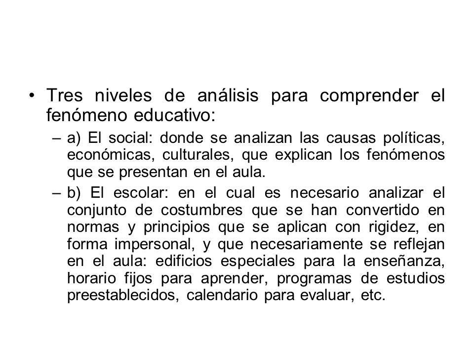 Tres niveles de análisis para comprender el fenómeno educativo: