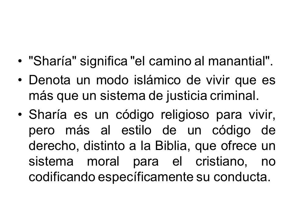 Sharía significa el camino al manantial .
