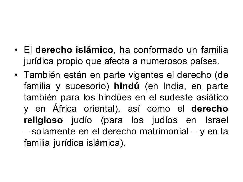 El derecho islámico, ha conformado un familia jurídica propio que afecta a numerosos países.