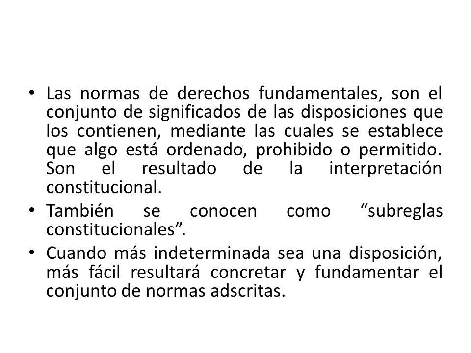 Las normas de derechos fundamentales, son el conjunto de significados de las disposiciones que los contienen, mediante las cuales se establece que algo está ordenado, prohibido o permitido. Son el resultado de la interpretación constitucional.