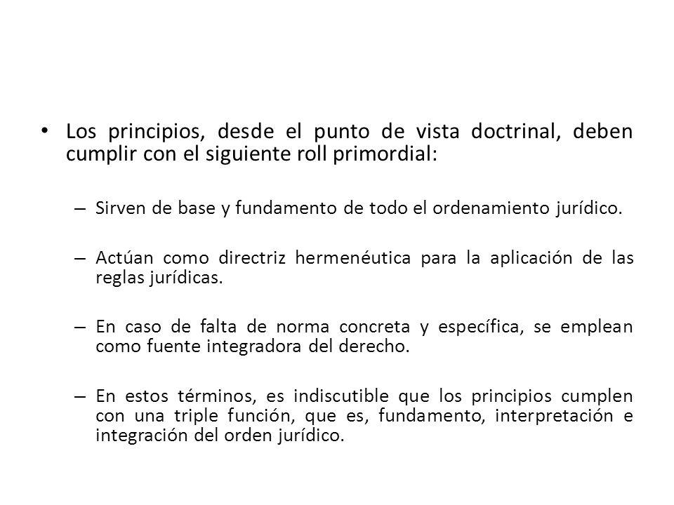 Los principios, desde el punto de vista doctrinal, deben cumplir con el siguiente roll primordial: