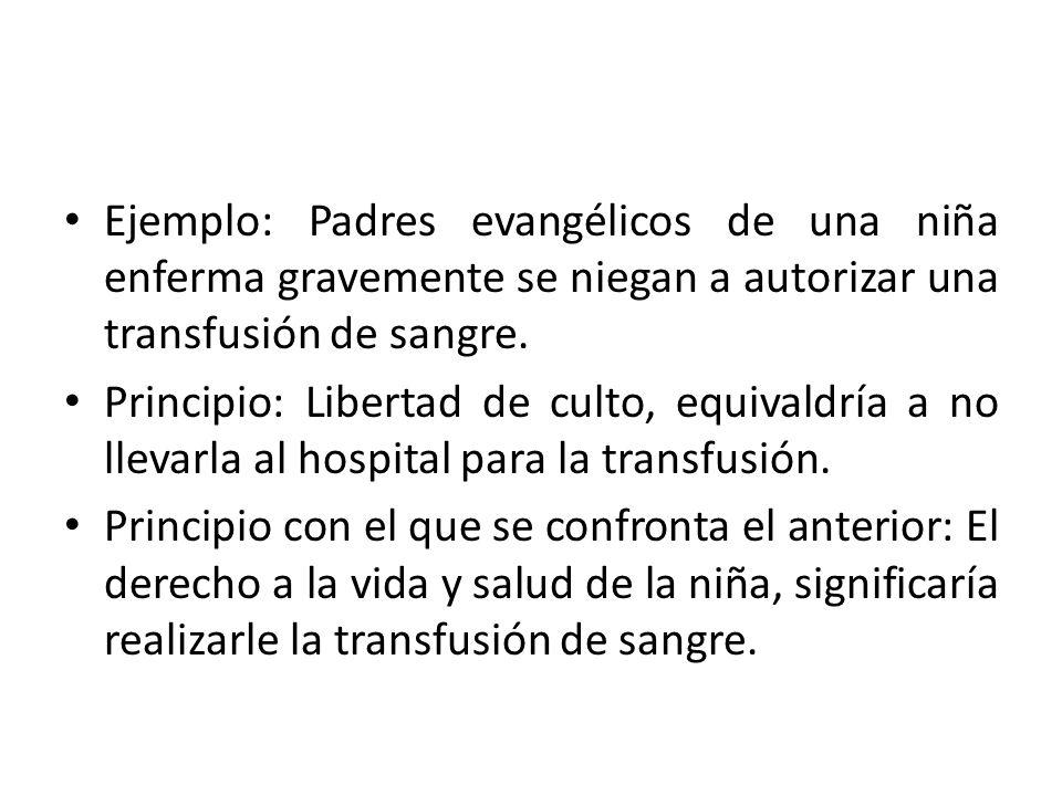 Ejemplo: Padres evangélicos de una niña enferma gravemente se niegan a autorizar una transfusión de sangre.