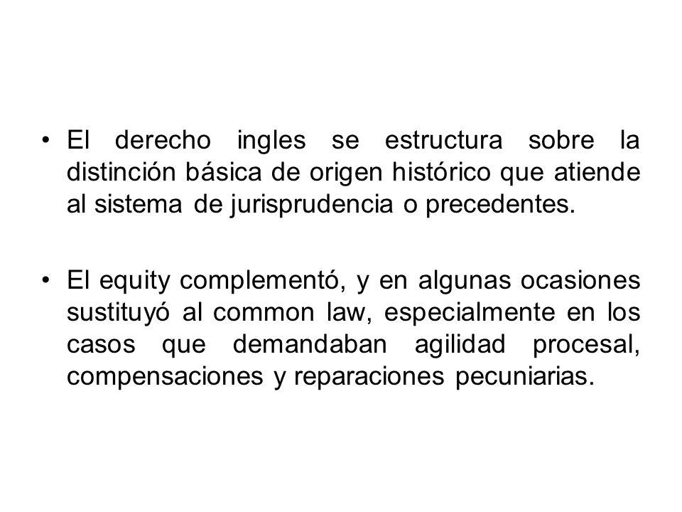 El derecho ingles se estructura sobre la distinción básica de origen histórico que atiende al sistema de jurisprudencia o precedentes.
