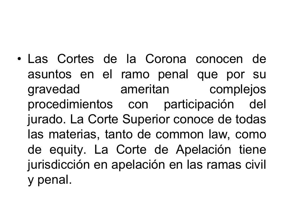 Las Cortes de la Corona conocen de asuntos en el ramo penal que por su gravedad ameritan complejos procedimientos con participación del jurado.