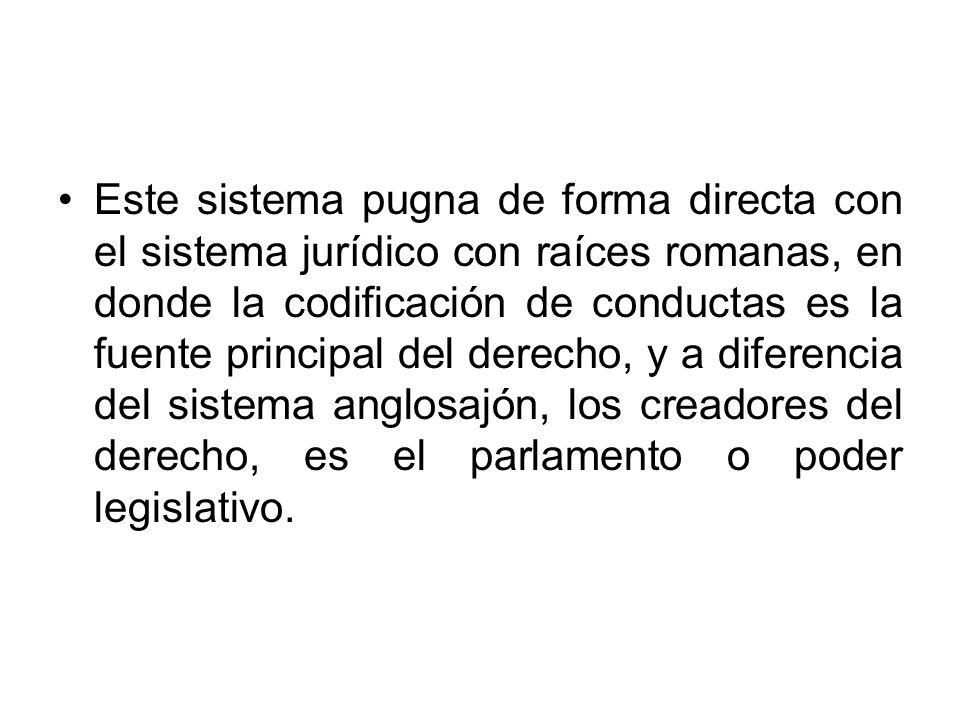 Este sistema pugna de forma directa con el sistema jurídico con raíces romanas, en donde la codificación de conductas es la fuente principal del derecho, y a diferencia del sistema anglosajón, los creadores del derecho, es el parlamento o poder legislativo.