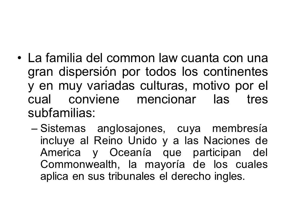 La familia del common law cuanta con una gran dispersión por todos los continentes y en muy variadas culturas, motivo por el cual conviene mencionar las tres subfamilias: