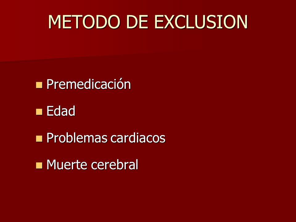 METODO DE EXCLUSION Premedicación Edad Problemas cardiacos