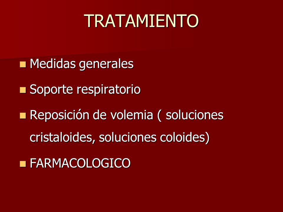 TRATAMIENTO Medidas generales Soporte respiratorio