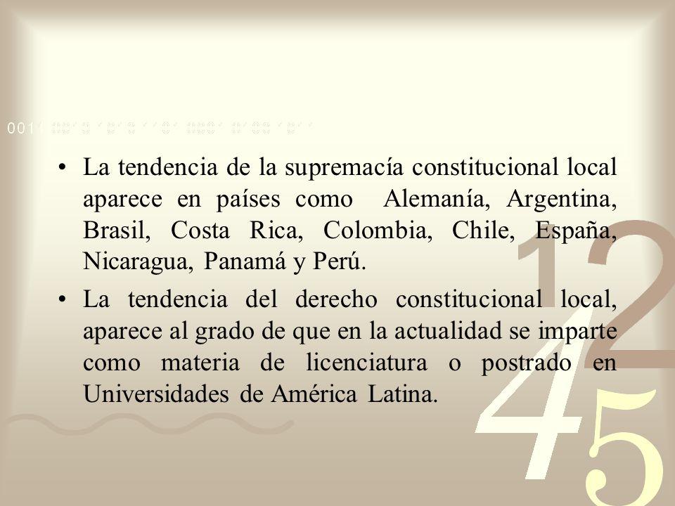La tendencia de la supremacía constitucional local aparece en países como Alemanía, Argentina, Brasil, Costa Rica, Colombia, Chile, España, Nicaragua, Panamá y Perú.