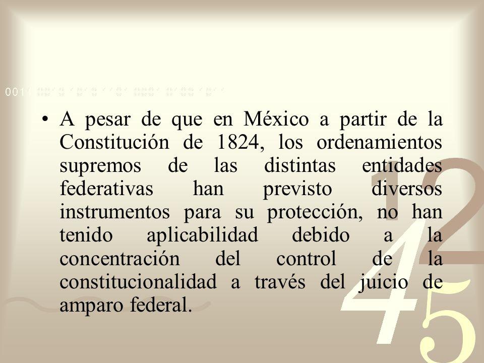 A pesar de que en México a partir de la Constitución de 1824, los ordenamientos supremos de las distintas entidades federativas han previsto diversos instrumentos para su protección, no han tenido aplicabilidad debido a la concentración del control de la constitucionalidad a través del juicio de amparo federal.