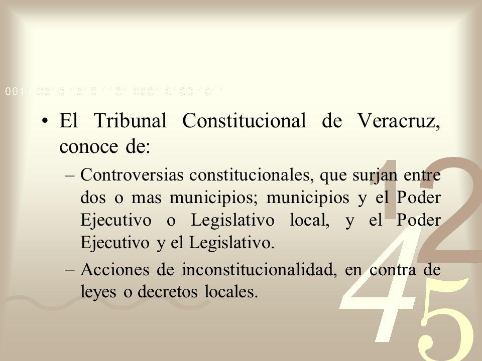 El Tribunal Constitucional de Veracruz, conoce de: