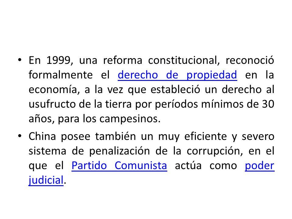 En 1999, una reforma constitucional, reconoció formalmente el derecho de propiedad en la economía, a la vez que estableció un derecho al usufructo de la tierra por períodos mínimos de 30 años, para los campesinos.