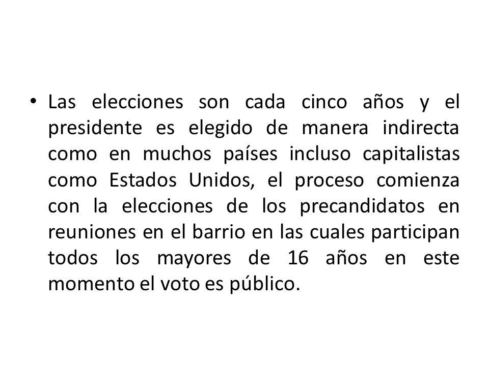 Las elecciones son cada cinco años y el presidente es elegido de manera indirecta como en muchos países incluso capitalistas como Estados Unidos, el proceso comienza con la elecciones de los precandidatos en reuniones en el barrio en las cuales participan todos los mayores de 16 años en este momento el voto es público.