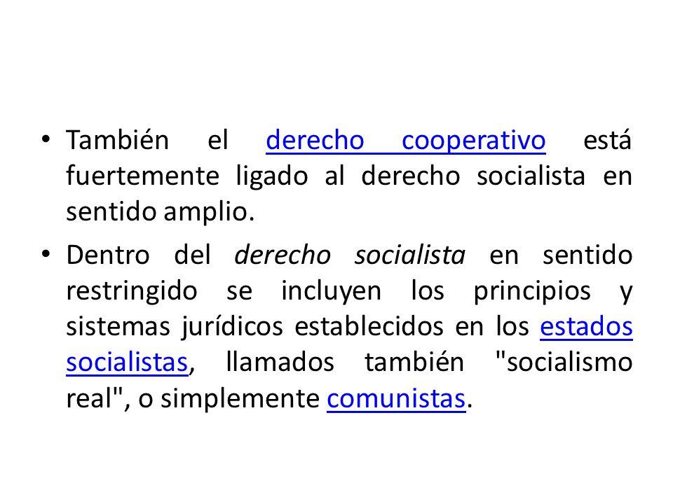 También el derecho cooperativo está fuertemente ligado al derecho socialista en sentido amplio.