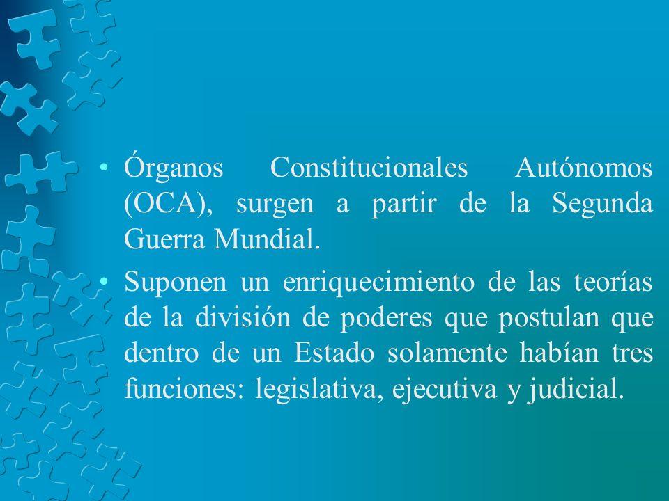 Órganos Constitucionales Autónomos (OCA), surgen a partir de la Segunda Guerra Mundial.