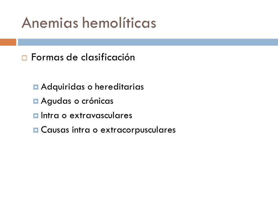 Anemias hemolíticas Formas de clasificación Adquiridas o hereditarias