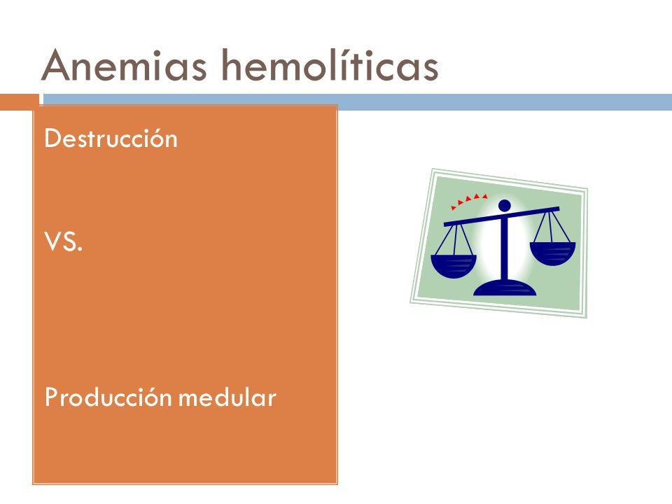 Anemias hemolíticas Destrucción VS. Producción medular