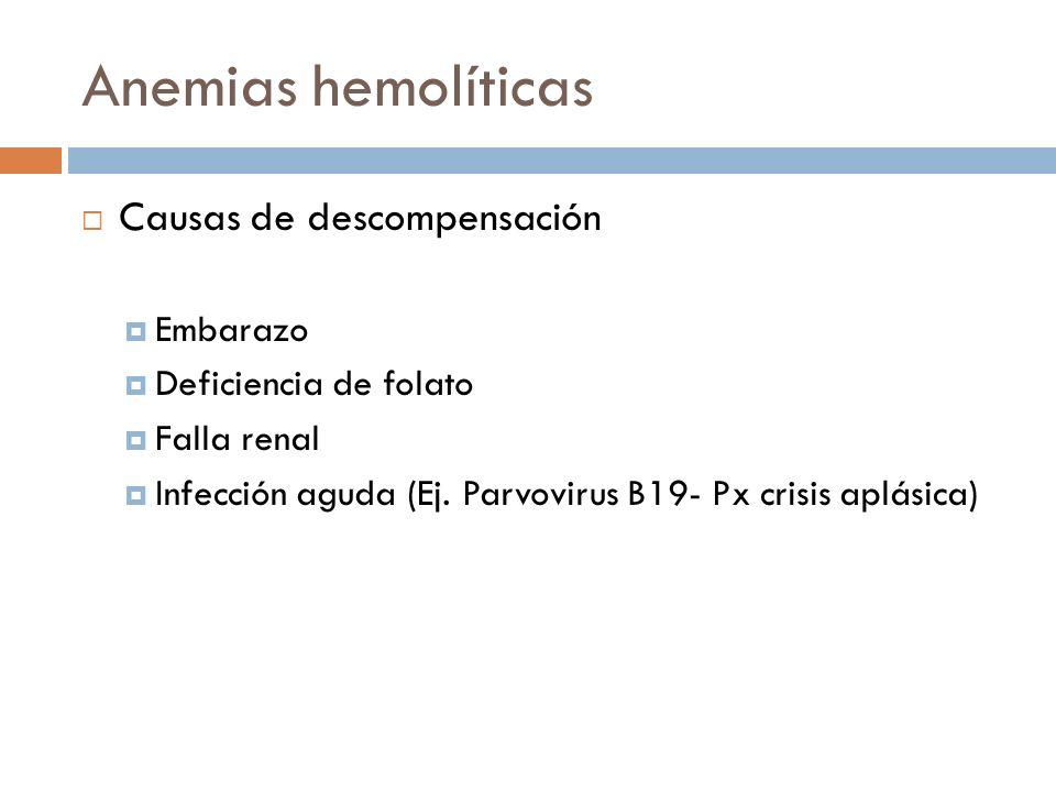 Anemias hemolíticas Causas de descompensación Embarazo