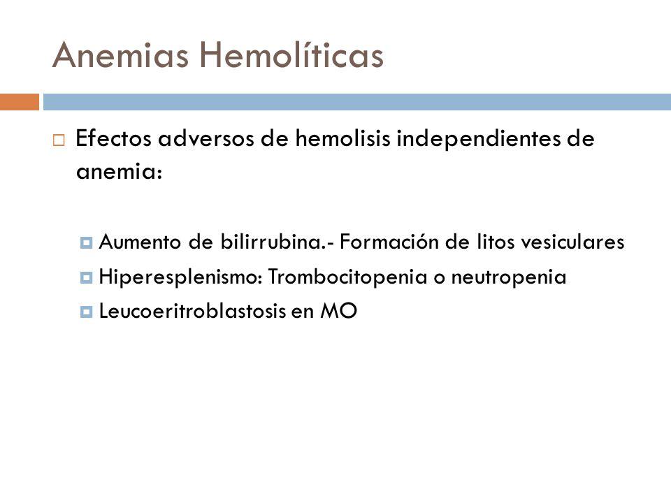 Anemias Hemolíticas Efectos adversos de hemolisis independientes de anemia: Aumento de bilirrubina.- Formación de litos vesiculares.