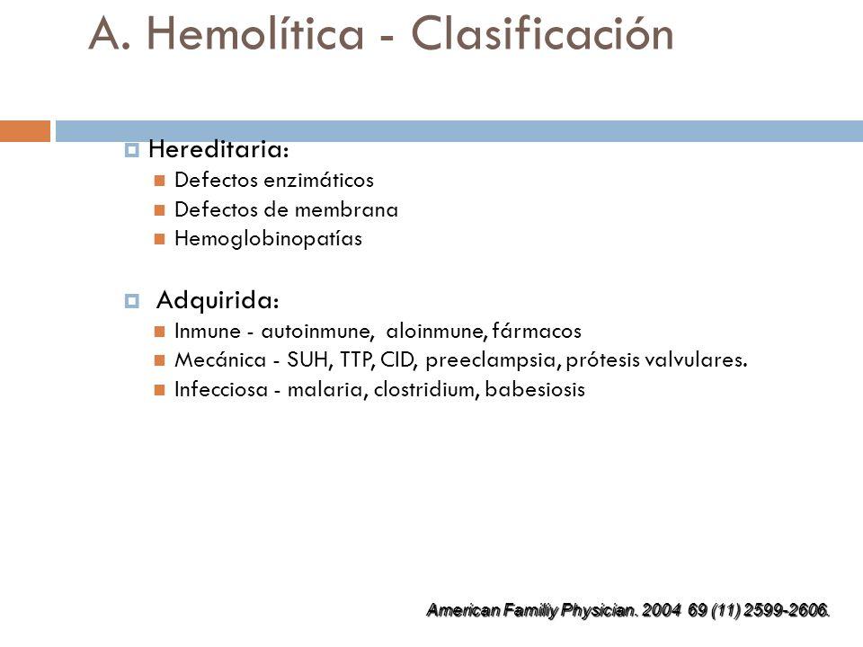 A. Hemolítica - Clasificación