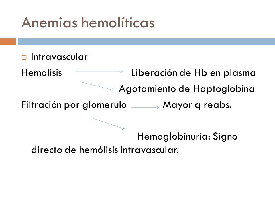 Anemias hemolíticas Intravascular Hemolisis Liberación de Hb en plasma