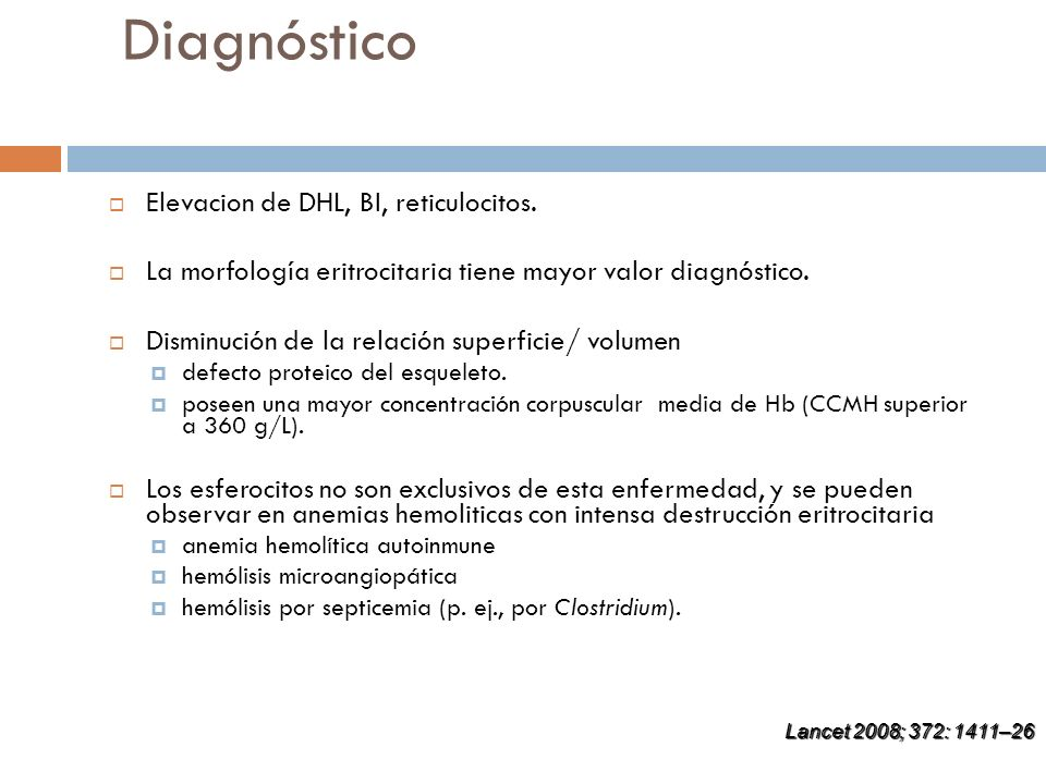 Diagnóstico Elevacion de DHL, BI, reticulocitos.