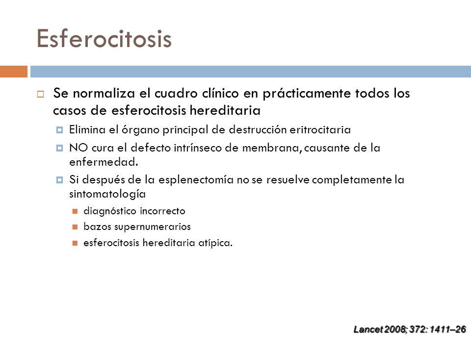 Esferocitosis Se normaliza el cuadro clínico en prácticamente todos los casos de esferocitosis hereditaria.
