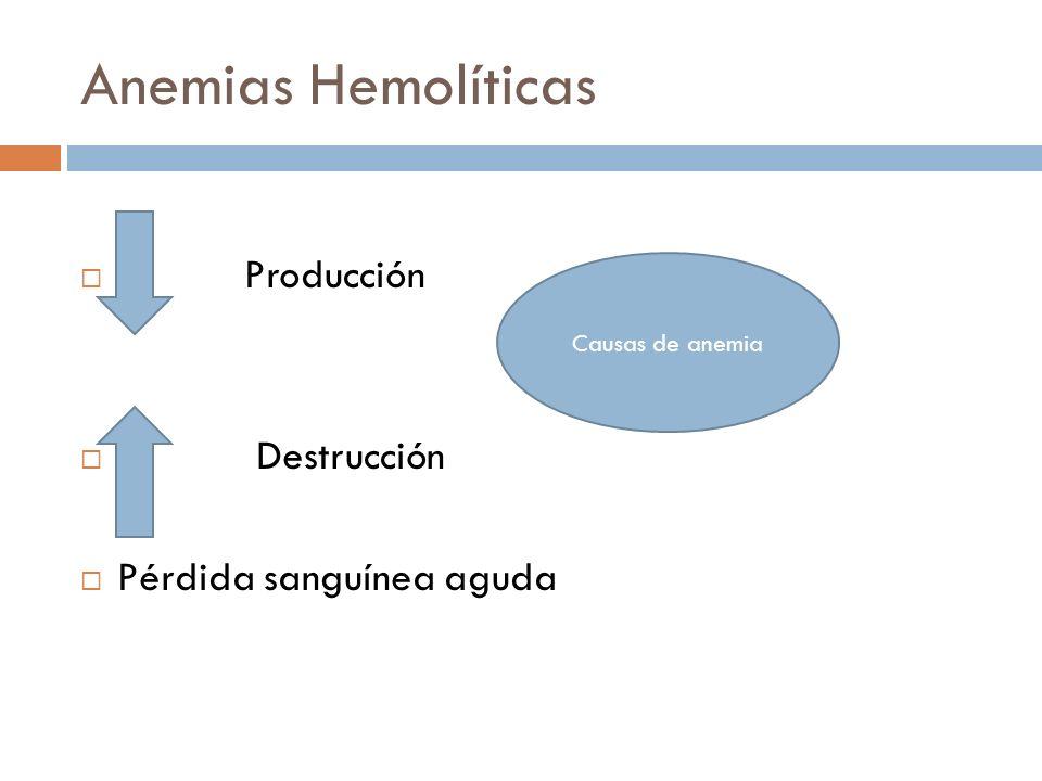 Anemias Hemolíticas Producción Destrucción Pérdida sanguínea aguda