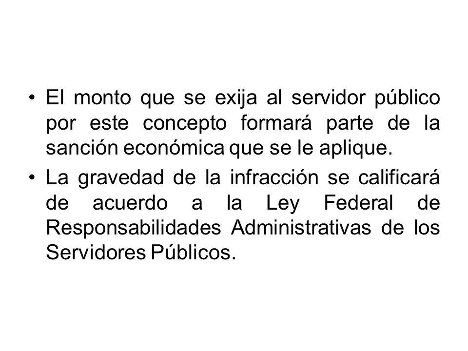 El monto que se exija al servidor público por este concepto formará parte de la sanción económica que se le aplique.