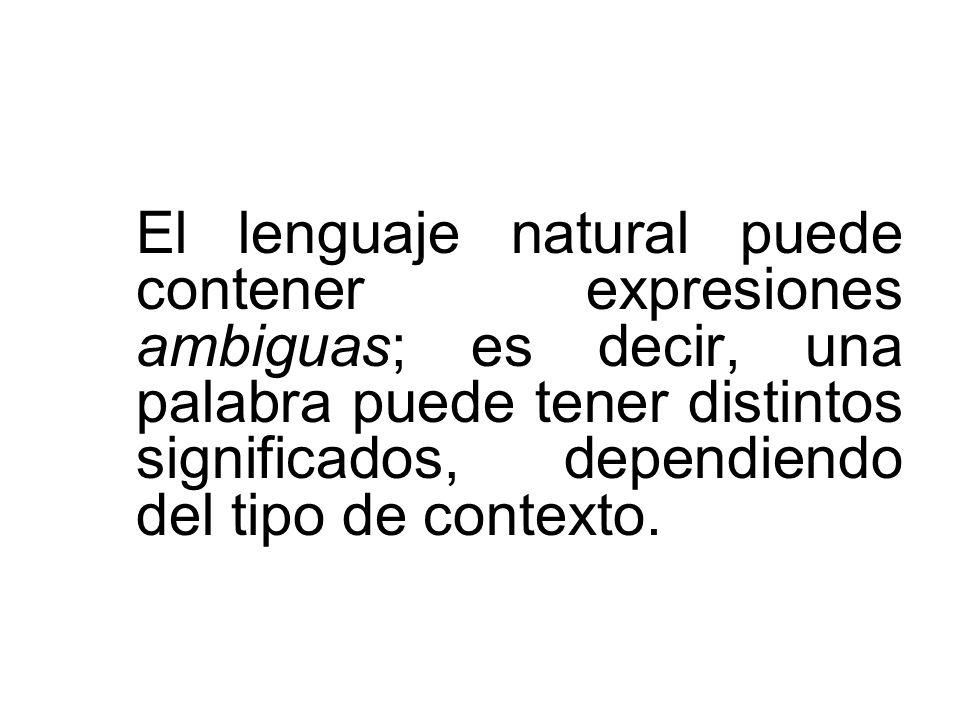 El lenguaje natural puede contener expresiones ambiguas; es decir, una palabra puede tener distintos significados, dependiendo del tipo de contexto.