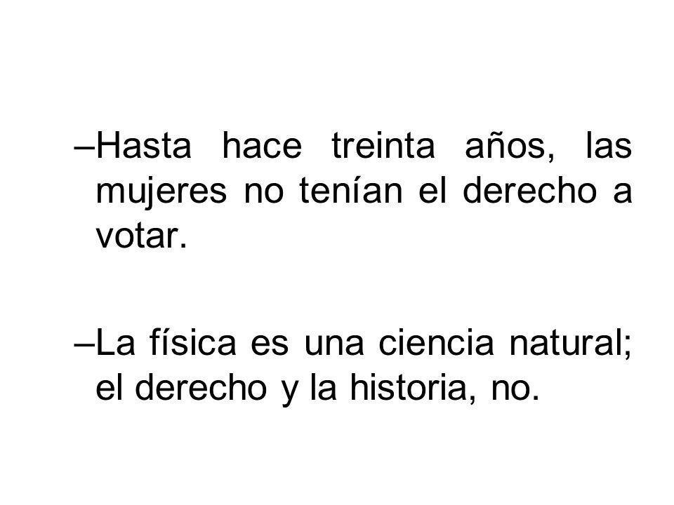 Hasta hace treinta años, las mujeres no tenían el derecho a votar.