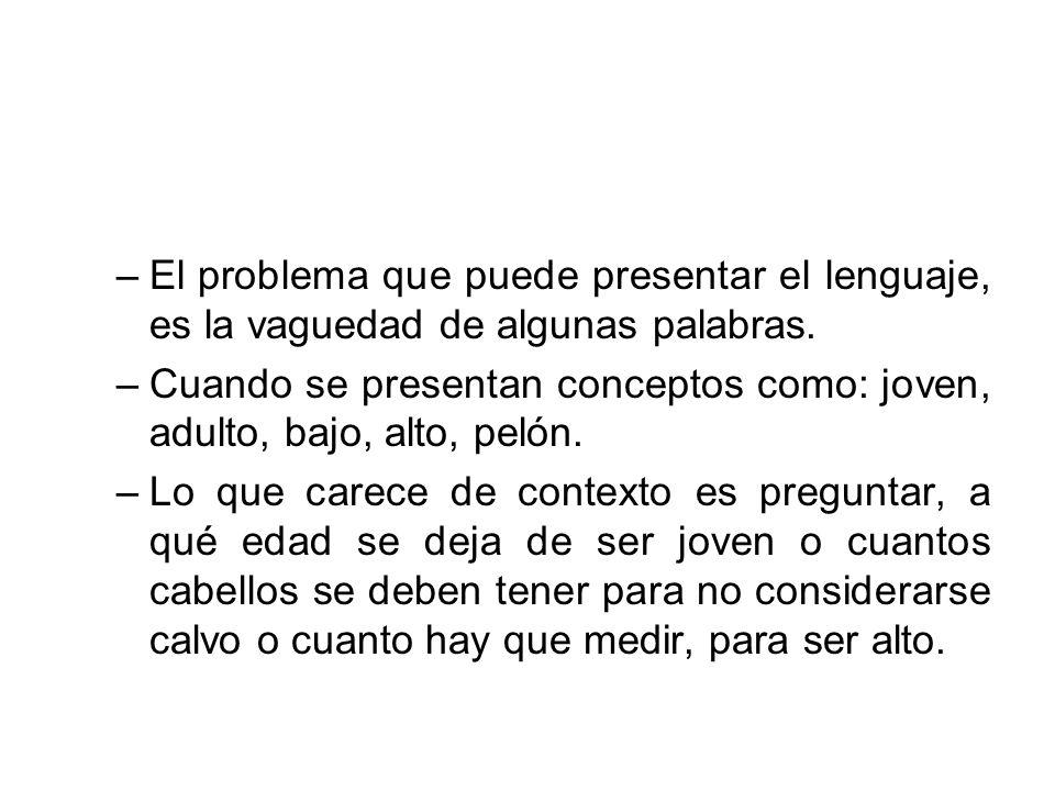 El problema que puede presentar el lenguaje, es la vaguedad de algunas palabras.