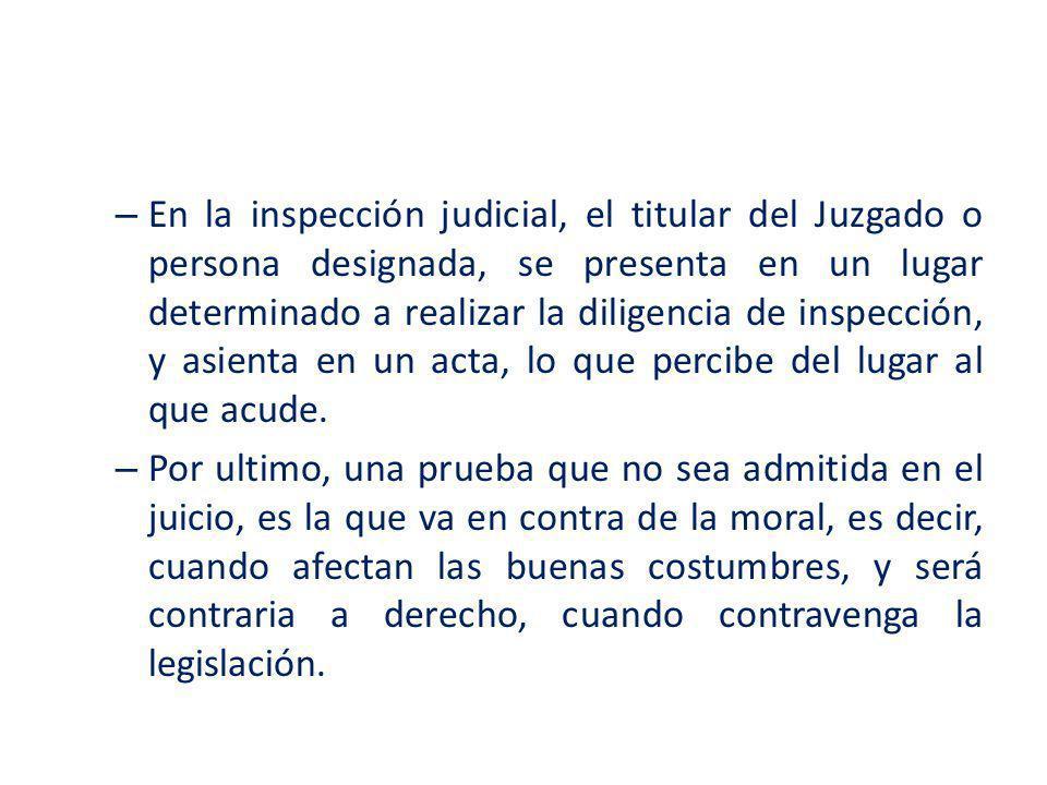 En la inspección judicial, el titular del Juzgado o persona designada, se presenta en un lugar determinado a realizar la diligencia de inspección, y asienta en un acta, lo que percibe del lugar al que acude.