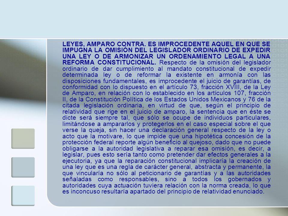LEYES, AMPARO CONTRA.